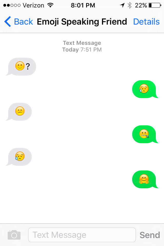 A text message conversation using emojis