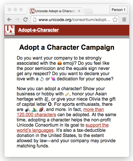 Adopt a Unicode character